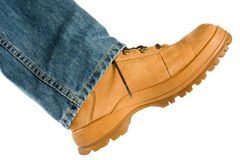 Male foot in brow shoe Stock Photography