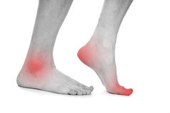 Male foot, heel, feet. On white background Royalty Free Stock Images