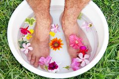 Male foot spa Royalty Free Stock Images