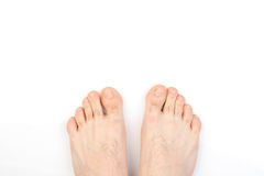 Male foot on white Royalty Free Stock Image