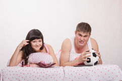 Male football fan, wife hates this game Stock Photography