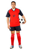 Male footballer smiling Royalty Free Stock Photography