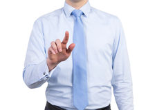 A male in a formal shirt with a tie is pushing the invisible button. Isolated Stock Photos