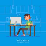 Male freelancer working remotely from his room. Freelance concept vector illustration in flat style design. Online Stock Images