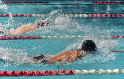 Male freestyle swimmers in a close race. Two male freestyle swimmers race in a close competitive outdoor swim meet Royalty Free Stock Photography