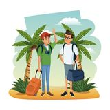 Male friends at beach. With luggage and camera vector illustration graphic design Stock Photos