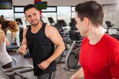 Male friends doing cardio and talking at a gym Stock Photography