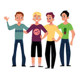 Male friendship concept of boys, men, friends hugging. Male friendship concept of boys, men, best friends hugging each other, cartoon vector illustration Stock Photo
