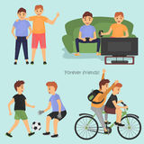 Male Friendship sketches set for web and mobile design Stock Photo
