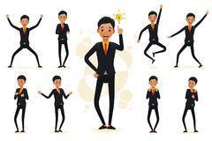 Male Funny Black African Businessman 2D Character Ready to Use Set. Wearing Suit and Tie Standing Position with Different Facial Expressions and Gestures in Royalty Free Stock Photos