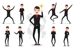 Male Funny Businessman 2D Character Ready to Use Set, Wearing Suit and Tie. Standing Position with Different Facial Expressions and Gestures in Isolated White Royalty Free Stock Photography