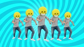 Animated Team Human Funny and Lucky Dynamic Dancing in Comical Rhythm Beat Loop