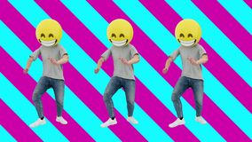 Animated Team Human Funny and Lucky Dynamic Dancing in Comical Rhythm Beat Loop. Male Funny and Lucky Team Dancing in Comical Rhythm of dj mix 80s 90s. 3d stock video