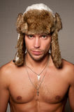 Male in fur hat Royalty Free Stock Photography
