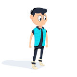Male futuristic character creation. Full length, isolated against white background.. Cartoon flat-style man illustration. Vector picture Royalty Free Stock Photo