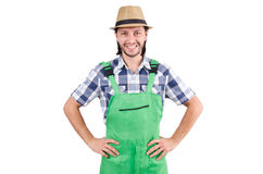 Male gardener isolated on white Royalty Free Stock Photos
