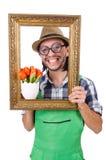Male gardener isolated on white Royalty Free Stock Photo