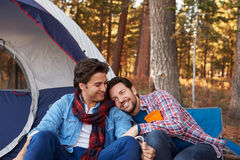 Male Gay Couple On Autumn Camping Trip Royalty Free Stock Images