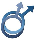 Male gay symbol. In gold, easy to isolate and to change color stock illustration