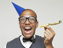 Male geek ready to start the party Stock Photo
