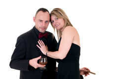 Male gigolo and woman admirer Stock Photos
