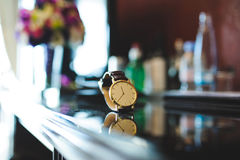 Male Golden Watch. On table Stock Photography
