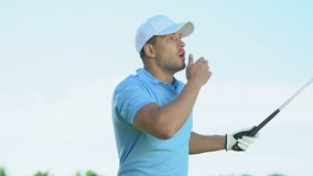 Male golf beginner player making long-distance shot, out of bounds hit, fail. Stock footage stock footage