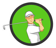 Male Golf Player. Playing golf, making a perfect golf swing. Best for logo, golf, sports, leisure concept Vector Illustration