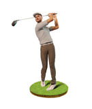Male Golf player teeing off. 3D painting of a man, male golf player, teeing-off standing on a patch of grass, front view royalty free stock image