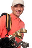 Male golfer carrying his bag Royalty Free Stock Photography
