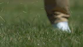 Male golfer hitting ball with driver playing golf on course, slow-motion closeup. Stock footage stock video footage
