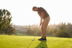 Male Golfer Lining Up Putt On Green Stock Images