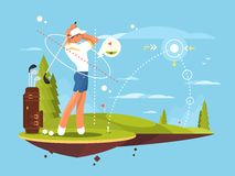 Male golfer playing golf. Calculates the impact and trajectory for exact hit. flat vector illustration Royalty Free Stock Photo