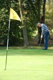 Male golfer putting. On the green Stock Photography