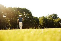 Male golfer putting flag in hole at golf course Stock Images