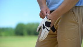 Male golfer wearing qualitative white glove, preparing to play, elite hobby. Stock footage stock video