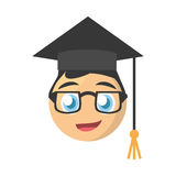 Male graduate emoticon cartoon design Royalty Free Stock Images