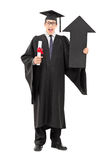 Male graduate student holding diploma and big arrow pointing up Stock Photos