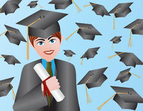 Male Graduation Illustration Stock Image
