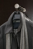Male gray coat. With a scarf Royalty Free Stock Images
