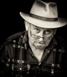 Male grumpy portrait. Photo of senior male with sad or grumpy face portrait Stock Photo