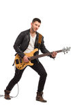Male guitarist with bass guitar. Stock Photography