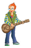 Male Guitarist, illustration Stock Images