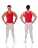 Male Gymnast. Young adult male gymnast. Studio shot over white Royalty Free Stock Image