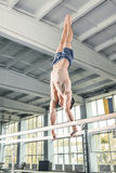 Male gymnast performing handstand on parallel bars Royalty Free Stock Photos