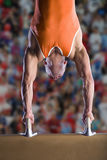 Male gymnast performing handstand on pommel horse Stock Images