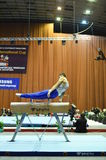 Male gymnast performing on pommel horse Stock Images
