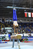 Male gymnast performing on pommel horse Royalty Free Stock Photos