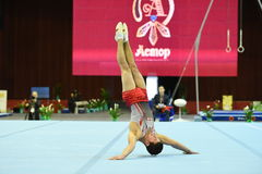 Male gymnast performing on pommel horse Royalty Free Stock Photo