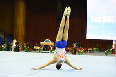 Male gymnast performing on pommel horse Royalty Free Stock Images
